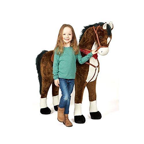 41P4yChPlDL - Pink Papaya Giant Riesen XXL Kinderpferd, Herkules, 125 cm Plüsch-Pferd zum reiten, fast lebensgroßes Spielzeug Pferd zum drauf sitzen, bis 100kg belastbar, mit verschiedenen Sounds, inkl. kleiner Bürste